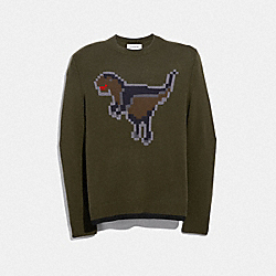 COACH 41356 Pixel Rexy Intarsia Sweater OLIVE