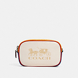 JES CONVERTIBLE BELT BAG IN COLORBLOCK WITH HORSE AND CARRIAGE - 4162 - SV/CHALK MULTI