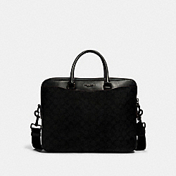 BECKETT DAY BAG IN SIGNATURE CANVAS - 4180 - JI/BLACK/BLACK/OXBLOOD