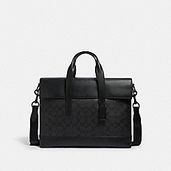 COACH 4190 - HAMILTON PORTFOLIO BRIEF IN SIGNATURE CANVAS JI/BLACK/BLACK/OXBLOOD
