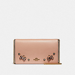 CALLIE FOLDOVER CHAIN CLUTCH WITH CRYSTAL APPLIQUE - B4/NUDE PINK - COACH 42071