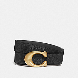 SCULPTED SIGNATURE REVERSIBLE BELT IN SIGNATURE CANVAS - 42107 - B4/CHARCOAL MIDNIGHT NAVY