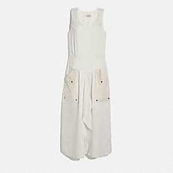 SILK STRIPE LONG DRESS WITH SNAP POCKETS - 4220 - CREAM.