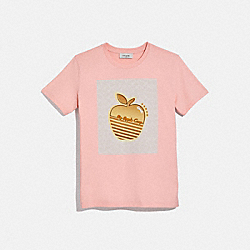 COACH 4231 Apple Graphic Camp T-shirt PALE PINK