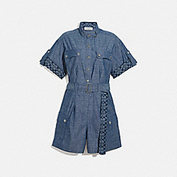 COACH 4252 - BELTED ROMPER CHAMBRAY