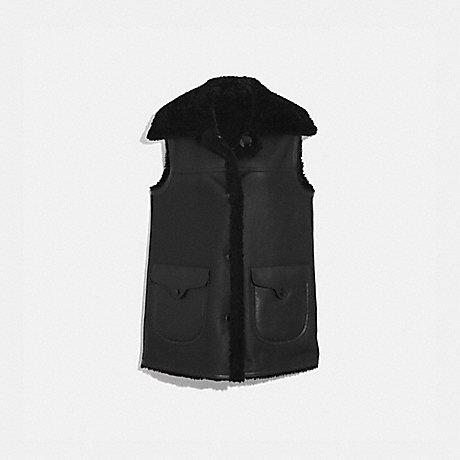 COACH 42793 REVERSIBLE SHEARLING VEST BLACK/BLACK