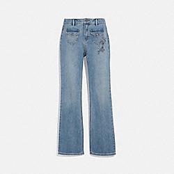 EMBELLISHED DENIM PANTS - BLUE - COACH 42847