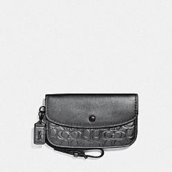 COACH 43020 Clutch In Signature Leather METALLIC GRAPHITE/PEWTER