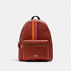 COACH 4411 - CHARLIE BACKPACK WITH VARSITY STRIPE IM/TERRACOTTA/ELCTRC PNK MULTI