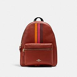 COACH 4411 Charlie Backpack With Varsity Stripe IM/TERRACOTTA/ELCTRC PNK MULTI