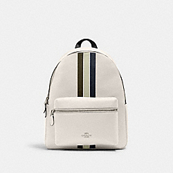 COACH 4411 - CHARLIE BACKPACK WITH VARSITY STRIPE SV/CHALK PALE GREEN MULTI