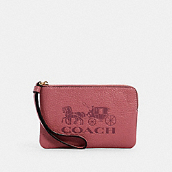 COACH 4413 Corner Zip Wristlet In Colorblock With Horse And Carriage IM/ROSE MULTI