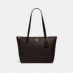 ZIP TOP TOTE IN SIGNATURE CANVAS - 4455 - IM/BROWN BLACK