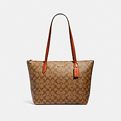 ZIP TOP TOTE IN SIGNATURE CANVAS - 4455 - IM/KHAKI SEDONA