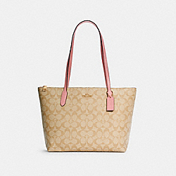 ZIP TOP TOTE IN SIGNATURE CANVAS - 4455 - IM/LIGHT KHAKI/BUBBLEGUM