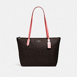 ZIP TOP TOTE IN SIGNATURE CANVAS - 4455 - QB/BROWN PINK LEMONADE