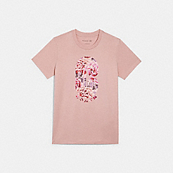 T-SHIRT WITH KAFFE FASSETT PRINT - 4497 - LIGHT ROSE