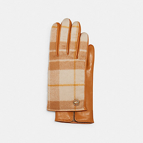 COACH 4543 HORSE AND CARRIAGE PLAQUE LEATHER TECH GLOVES WITH WINDOWPANE PLAID PRINT TAN/ORANGE
