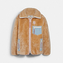 COACH 4584 Solid Sherpa Zip Up Jacket CREAM