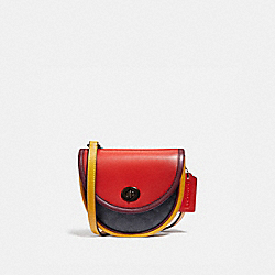TURNLOCK CONVERTIBLE CROSSBODY IN BLOCKED SIGNATURE CANVAS - 4585 - CHARCOAL/ YOLK/ CRANBERRY RED