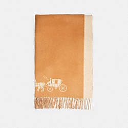 COACH 4622 - HORSE AND CARRIAGE DOUBLE FACE OVERSIZED MUFFLER CAMEL/CHALK