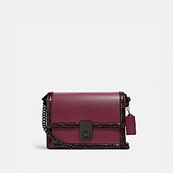 HUTTON SHOULDER BAG WITH SNAKESKIN DETAIL - 4652 - V5/BLACK CHERRY