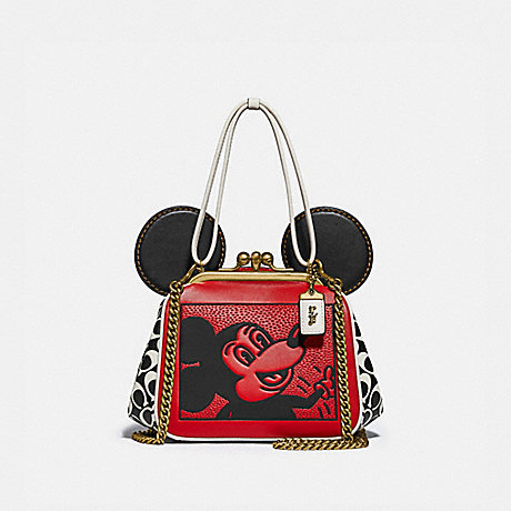 COACH 4716 DISNEY MICKEY MOUSE X KEITH HARING KISSLOCK BAG B4/ELECTRIC RED MULTI