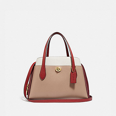 COACH 4779 LORA CARRYALL 30 IN COLORBLOCK B4/TAUPE RED SAND MULTI
