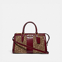 COACH 48045 - BOND BAG IN SIGNATURE JACQUARD B4/TAN SCARLET