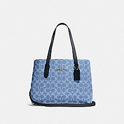 AVENUE CARRYALL IN SIGNATURE CANVAS - 48735 - SV/LIGHT DENIM MIDNIGHT