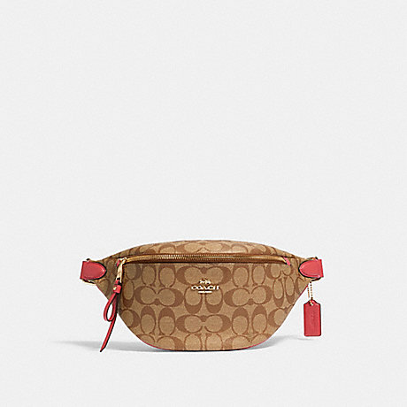 COACH 48740 BELT BAG IN SIGNATURE CANVAS IM/KHAKI-POPPY