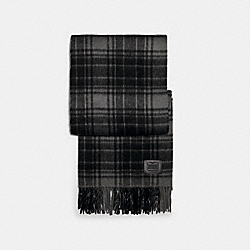 COACH 4915 - WOOL PLAID PRINT SCARF CHARCOAL