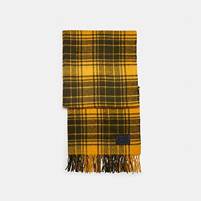 ウール プラッド プリント スカーフ
