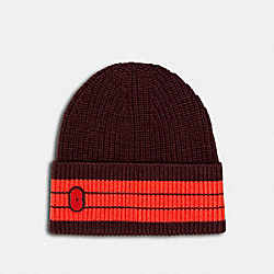 COACH 4920 - STRIPED BEANIE WITH COACH PATCH MAROON