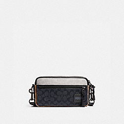 COACH 4954 Pacer Slim Pouch In Colorblock Signature Canvas CHARCOAL/KHAKI/CHALK