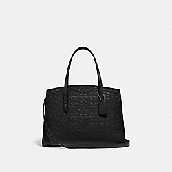 CHARLIE CARRYALL IN SIGNATURE LEATHER - 51728 - GOLD/BLACK