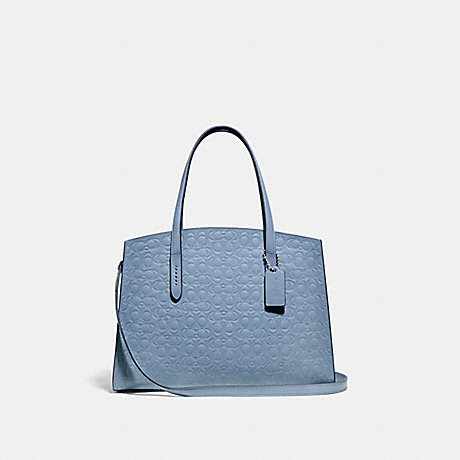 COACH 51728 CHARLIE CARRYALL IN SIGNATURE LEATHER SILVER/MIST