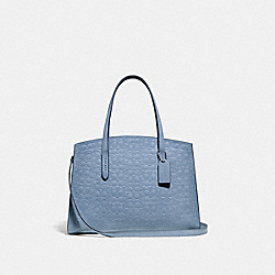 COACH 51728 - CHARLIE CARRYALL IN SIGNATURE LEATHER SILVER/MIST