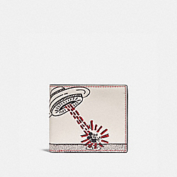 COACH 5181 Disney Mickey Mouse X Keith Haring Double Billfold Wallet RED MULTI