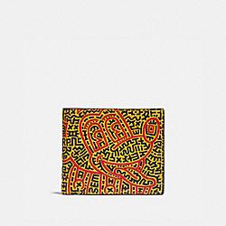 COACH 5221 Disney Mickey Mouse X Keith Haring Double Billfold Wallet BLACK MULTI.