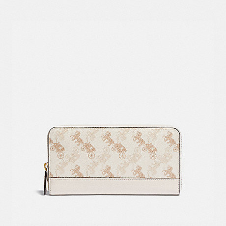 COACH ACCORDION ZIP WALLET WITH HORSE AND CARRIAGE PRINT - B4/CHALK TAUPE - 5255