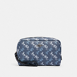COACH 528 Boxy Cosmetic Case With Horse And Carriage Print SV/INDIGO PALE BLUE MULTI