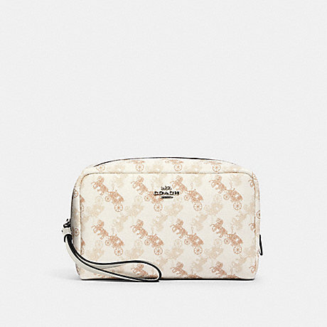 COACH 528 BOXY COSMETIC CASE WITH HORSE AND CARRIAGE PRINT SV/CREAM BEIGE MULTI