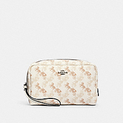 COACH 528 - BOXY COSMETIC CASE WITH HORSE AND CARRIAGE PRINT SV/CREAM BEIGE MULTI