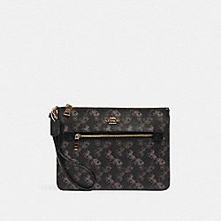 COACH 530 - GALLERY POUCH WITH HORSE AND CARRIAGE PRINT IM/BLACK GREY MULTI