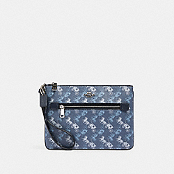 COACH 530 Gallery Pouch With Horse And Carriage Print SV/INDIGO PALE BLUE MULTI