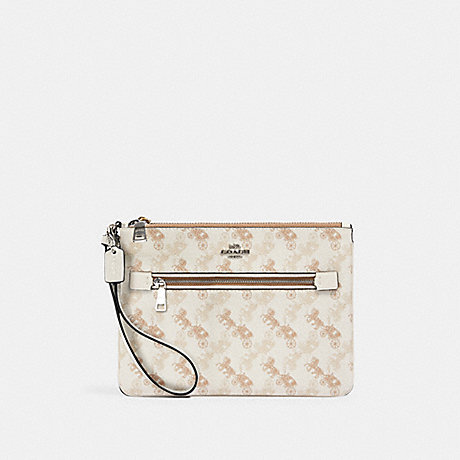 COACH 530 GALLERY POUCH WITH HORSE AND CARRIAGE PRINT SV/CREAM-BEIGE-MULTI