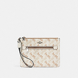 GALLERY POUCH WITH HORSE AND CARRIAGE PRINT - 530 - SV/CREAM BEIGE MULTI