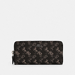 COACH 531 Slim Accordion Zip Wallet With Horse And Carriage Print IM/BLACK GREY MULTI