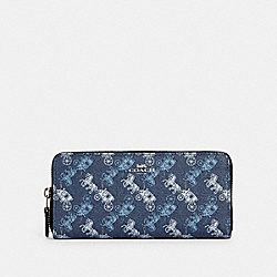 COACH 531 Slim Accordion Zip Wallet With Horse And Carriage Print SV/INDIGO PALE BLUE MULTI